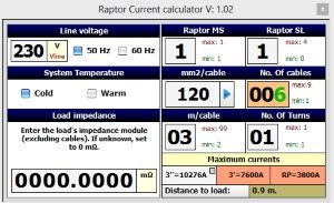 circuit breaker testing RAPTOR current calculator